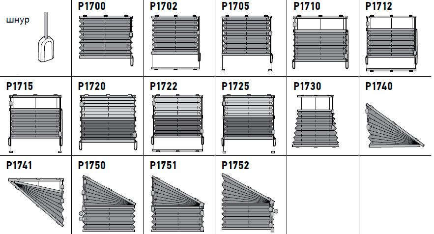шторы плиссе - управление шнуром